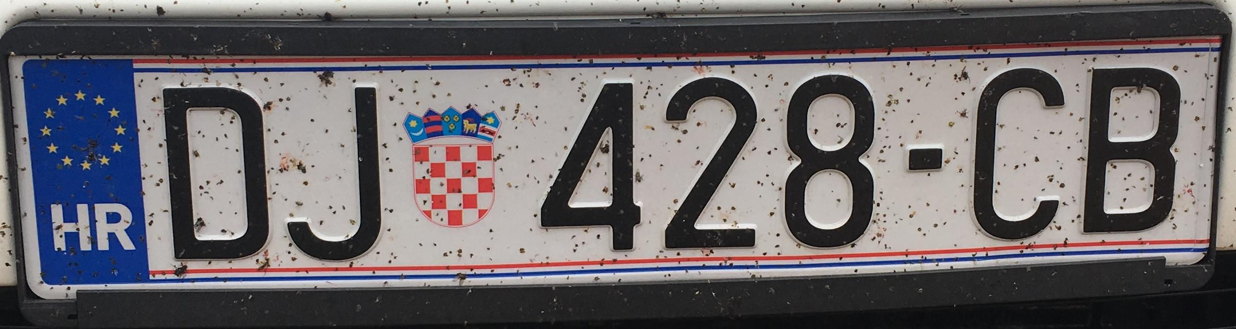 Registrační značka Chorvatsko - DJ - Djakovo, foto: www.podalnici.cz