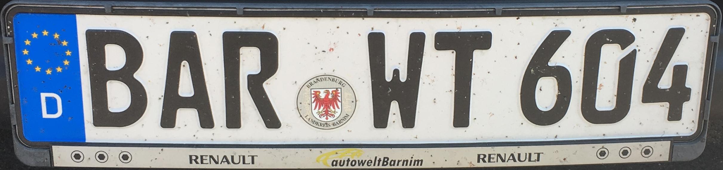 Registrační značka Německo - BAR - Barnim, foto: www.podalnici.cz