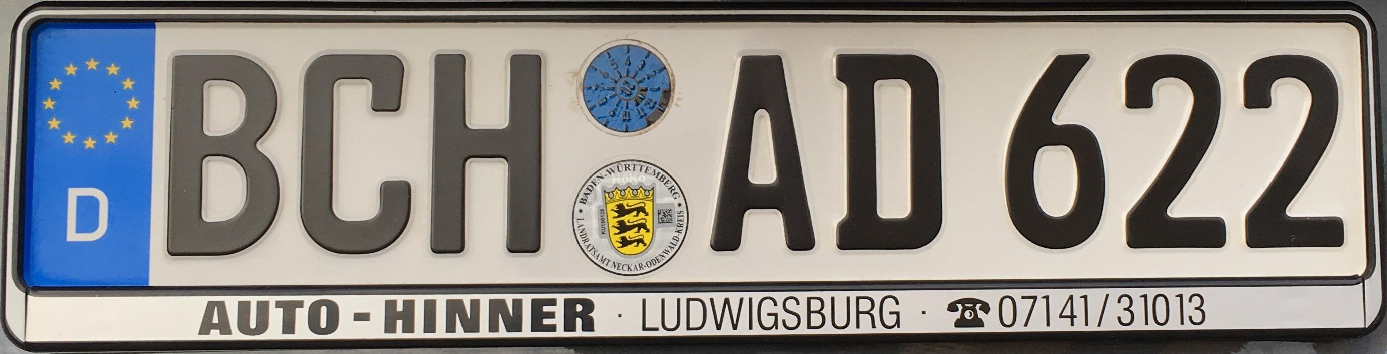 Registrační značky Německo - BCH - Buchen, foto: podalnici.cz