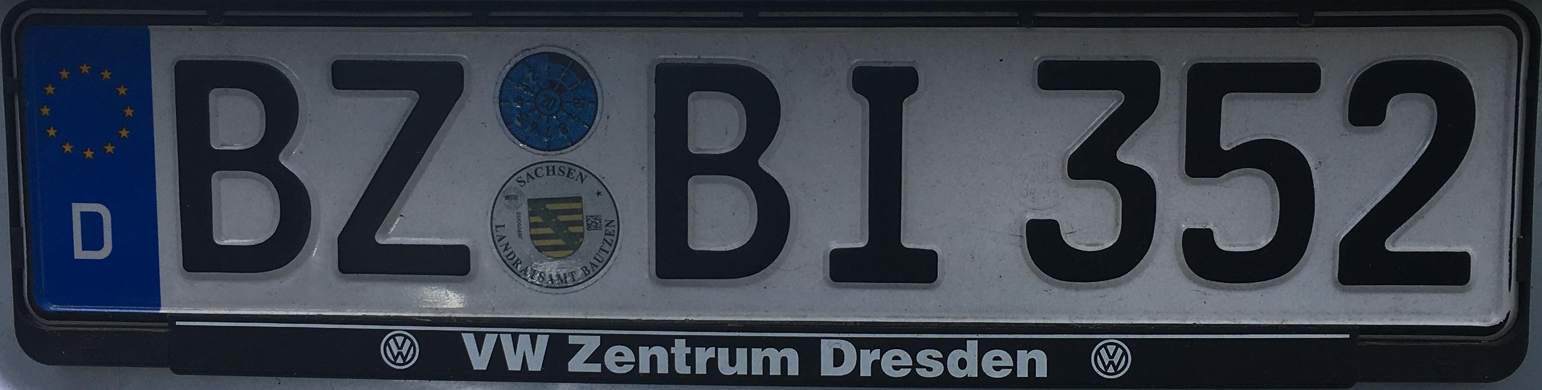 Registrační značka Německo - BZ - Bautzen, foto: www.podalnici.cz
