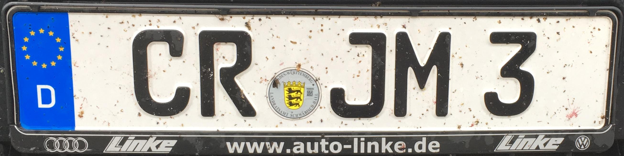 Registrační značky Německo - CR - Crailsheim, foto: podalnici.cz