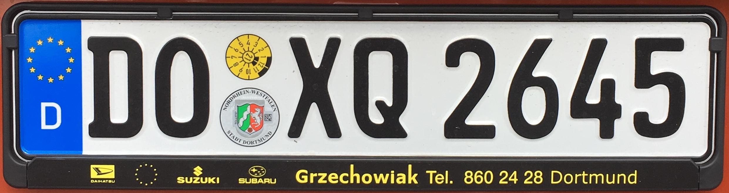 Registrační značka Německo – DO – město Dortmund, foto: www.podalnici.cz