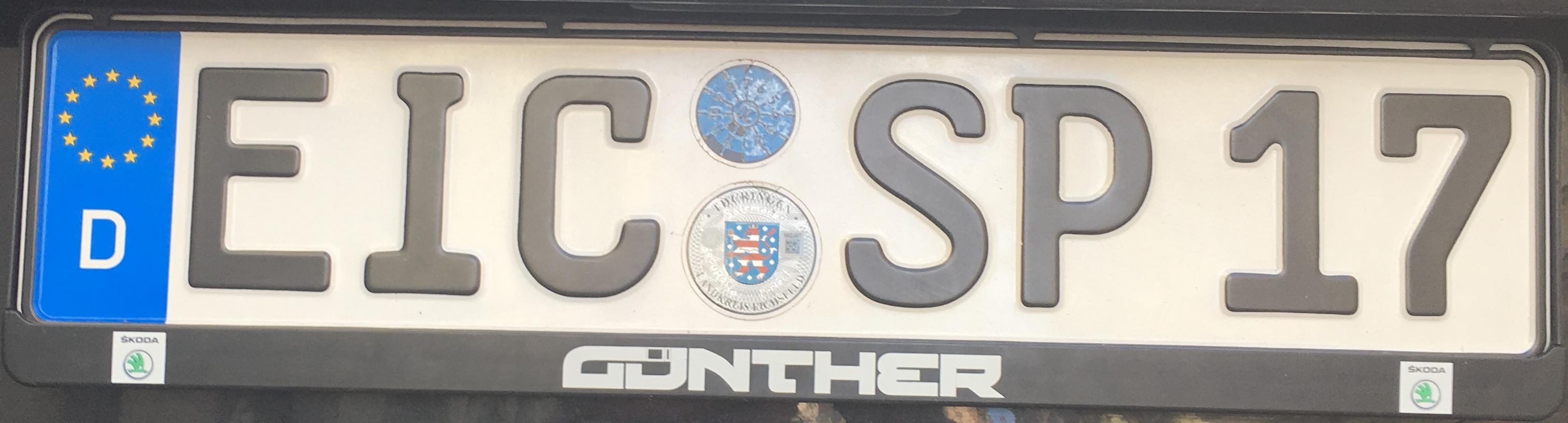 Registrační značka Německo - EIC - Eichsfeld, foto: www.podalnici.cz