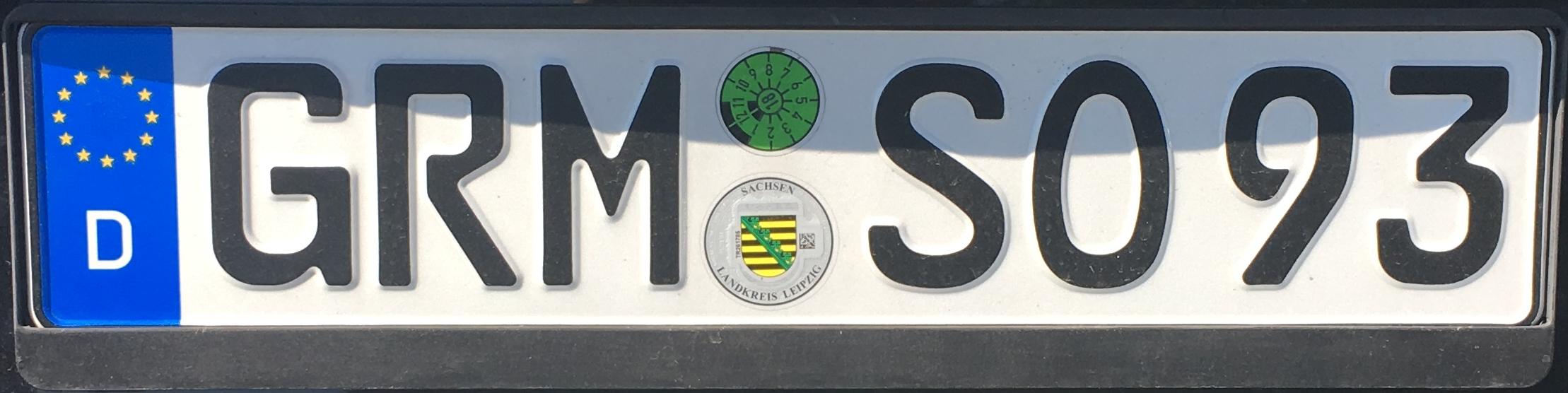 Registrační značka Německo - GRM - Grimma, foto: www.podalnici.cz