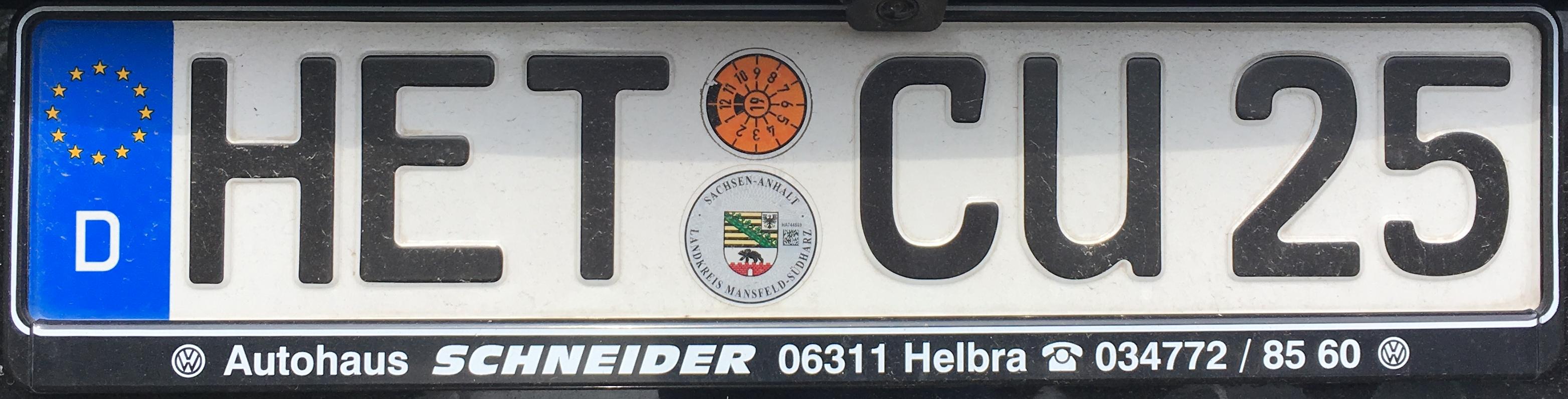 Registrační značka Německo - HET - Hettstedt (MSH), foto: www.podalnici.cz