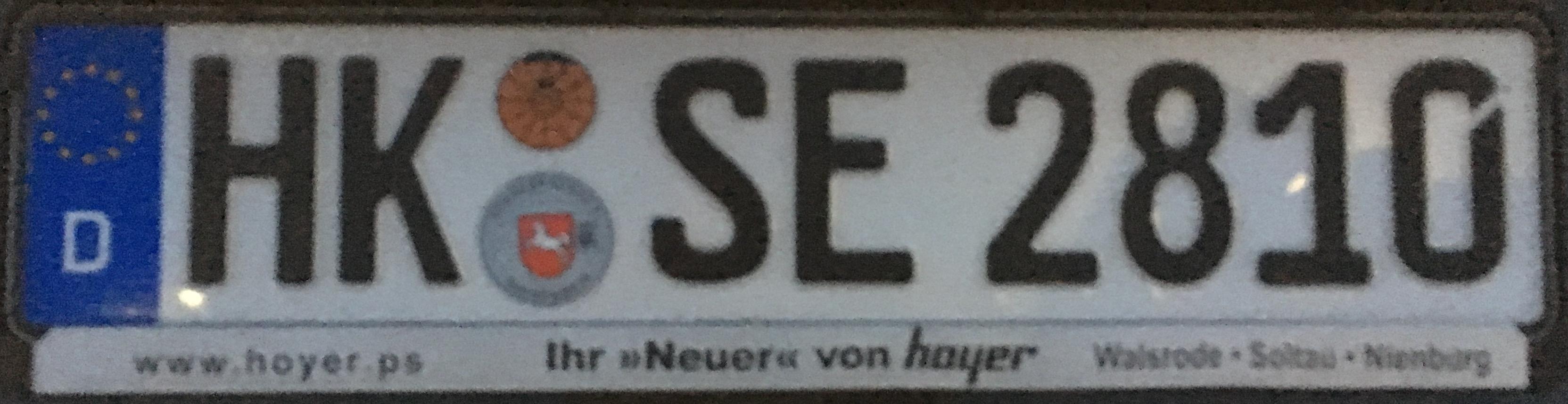 Registrační značka Německo - HK - Heidekreis, foto: www.podalnici.cz