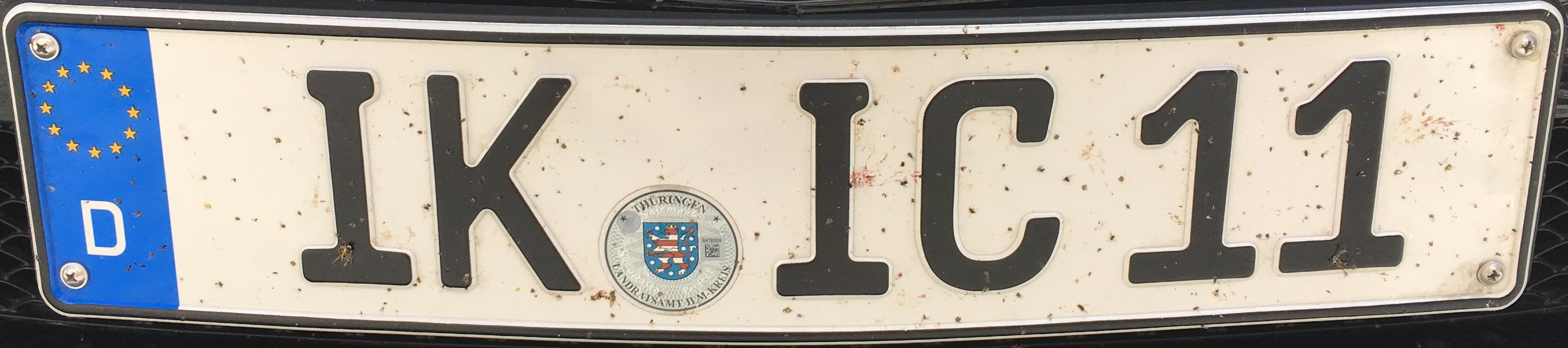 Registrační značka Německo - IK - Ilm-Kreis, foto: www.podalnici.cz