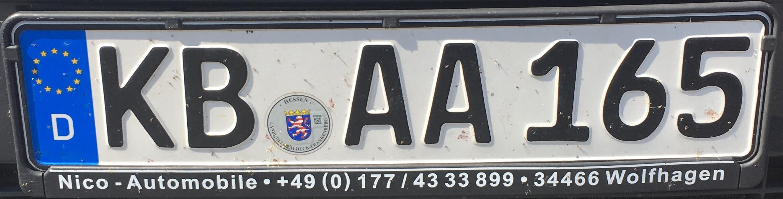 Registrační značka Německo – KB – Waldeck-Frankenberg, foto: www.podalnici.cz