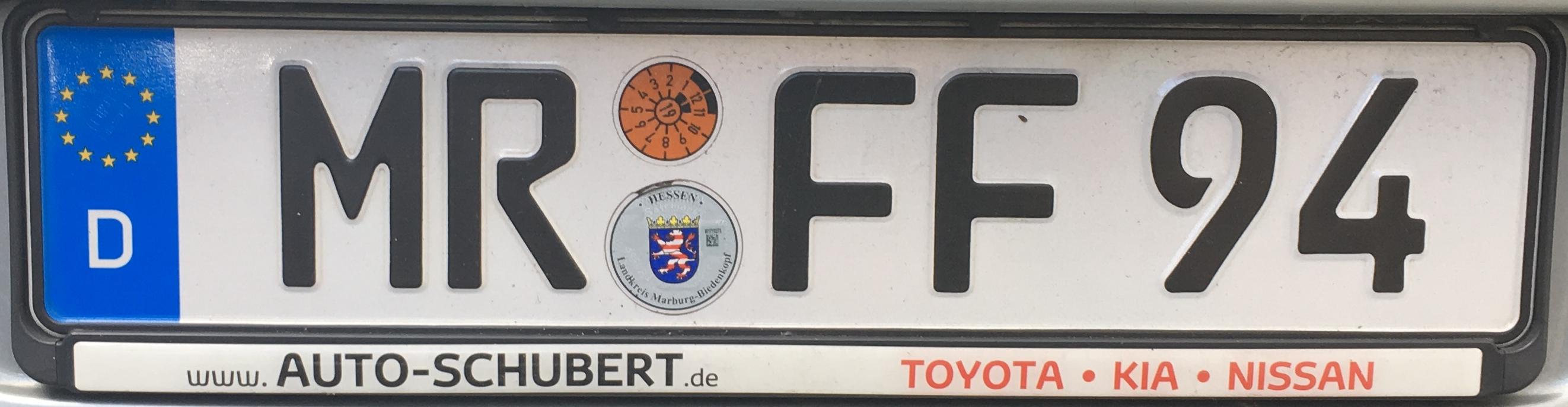 Registrační značka Německo – MR – Marburg-Biedenkopf, foto: www.podalnici.cz