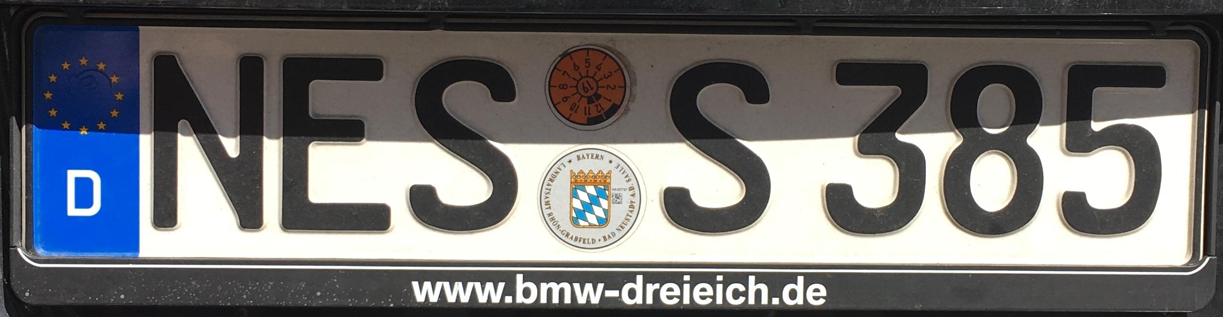 Registrační značka Německo – NES - Rhön-Grabfeld, foto: www.podalnici.cz
