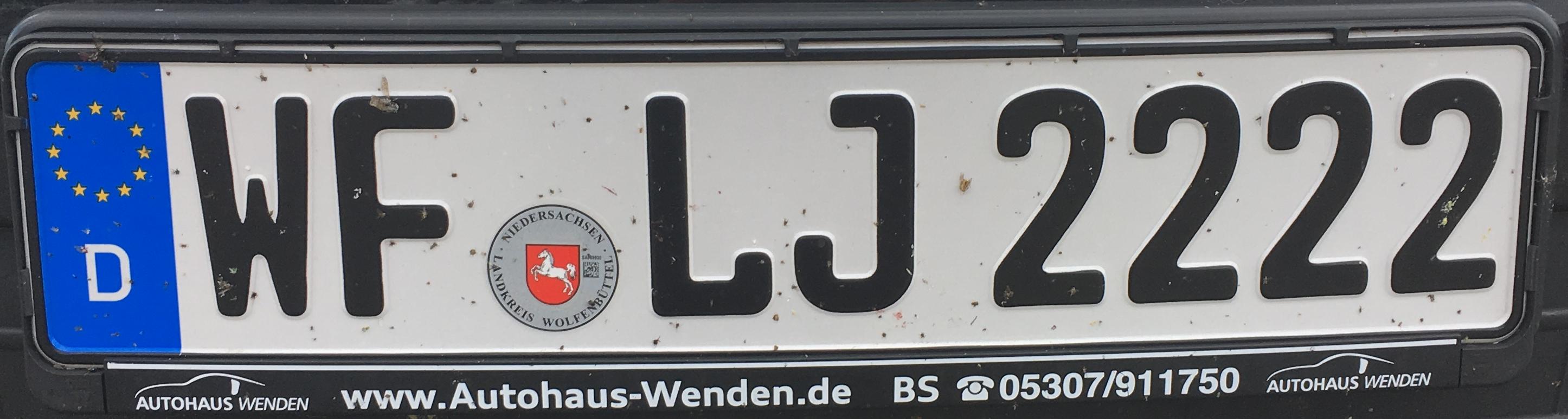 Registrační značka Německo – WF - Wolfenbüttel, foto: www.podalnici.cz