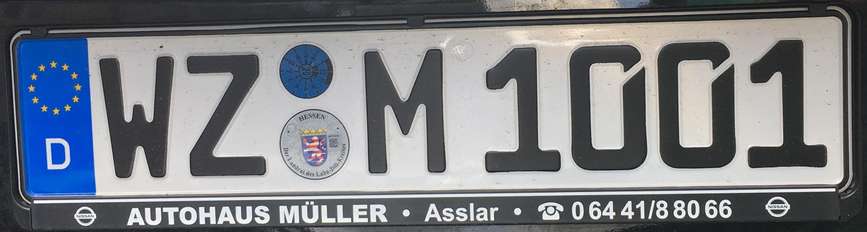 Registrační značka Německo – WZ – Wetzlar, foto: www.podalnici.cz