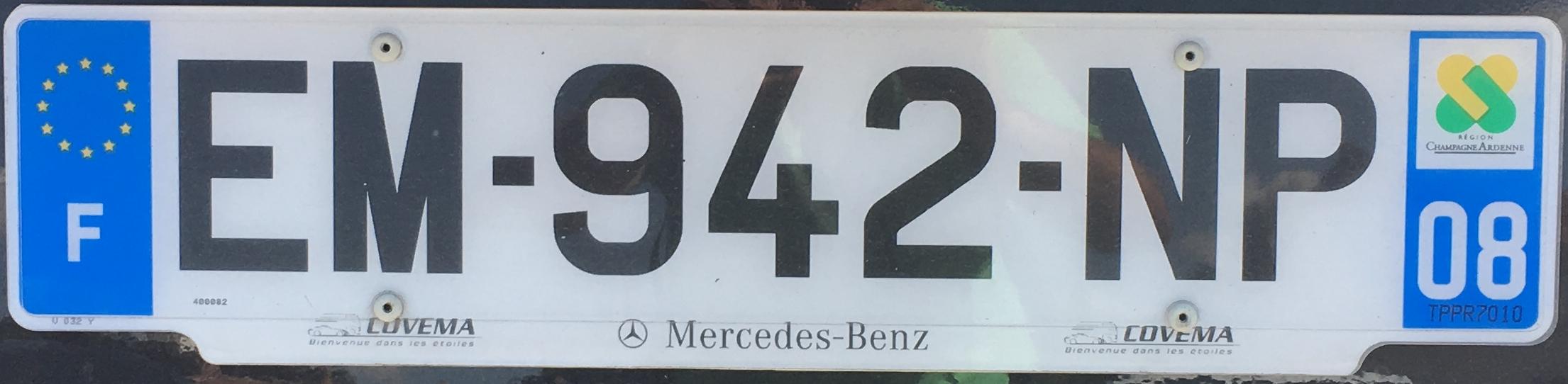 Francouzská registrační značka – 08 – Ardennes, foto: www.podalnici.cz