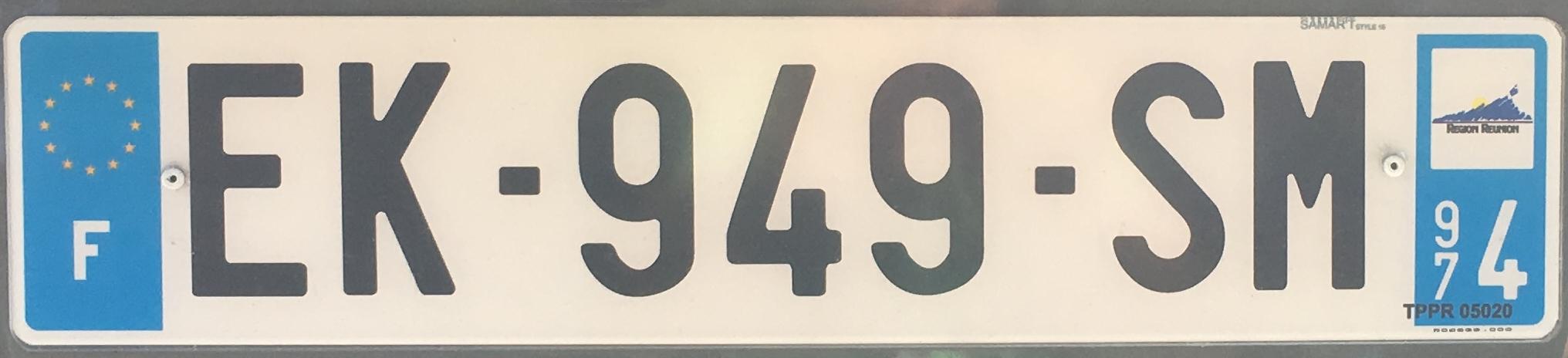 Francouzská registrační značka – 974* - La Réunion, foto: www.podalnici.cz