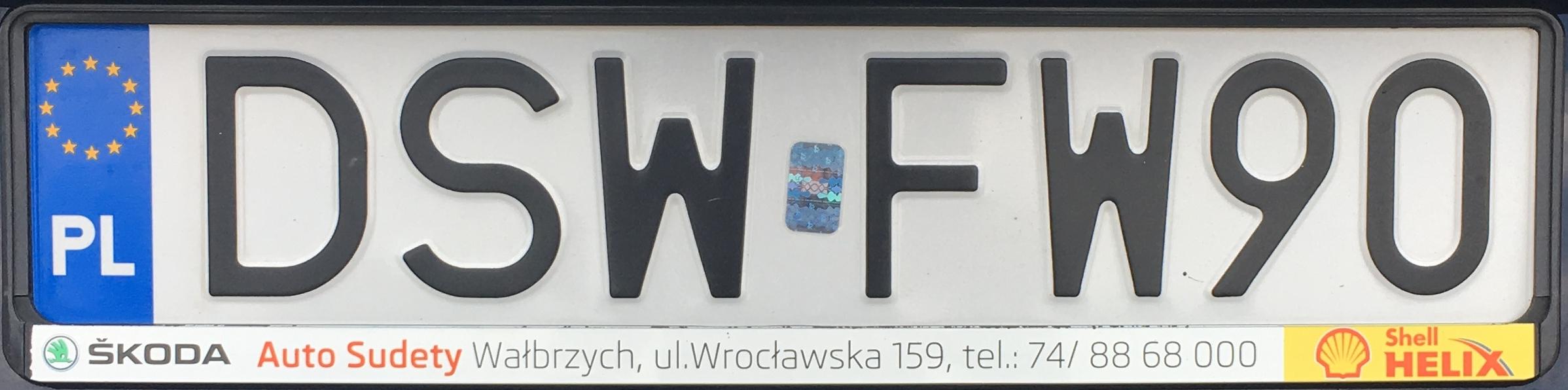 Registrační značka Polsko – DSW - Świdnica, foto: www.podalnici.cz