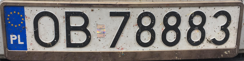 Registrační značka Polsko – OB - Brzeg, foto: www.podalnici.cz
