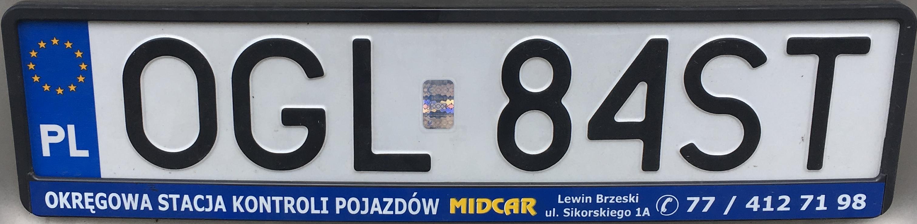 Registrační značka Polsko – OGL - Głubczyce, foto: www.podalnici.cz