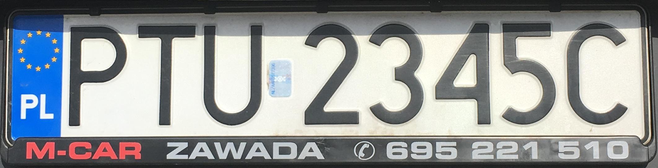 Registrační značka Polsko – PTU - Turek, foto: www.podalnici.cz