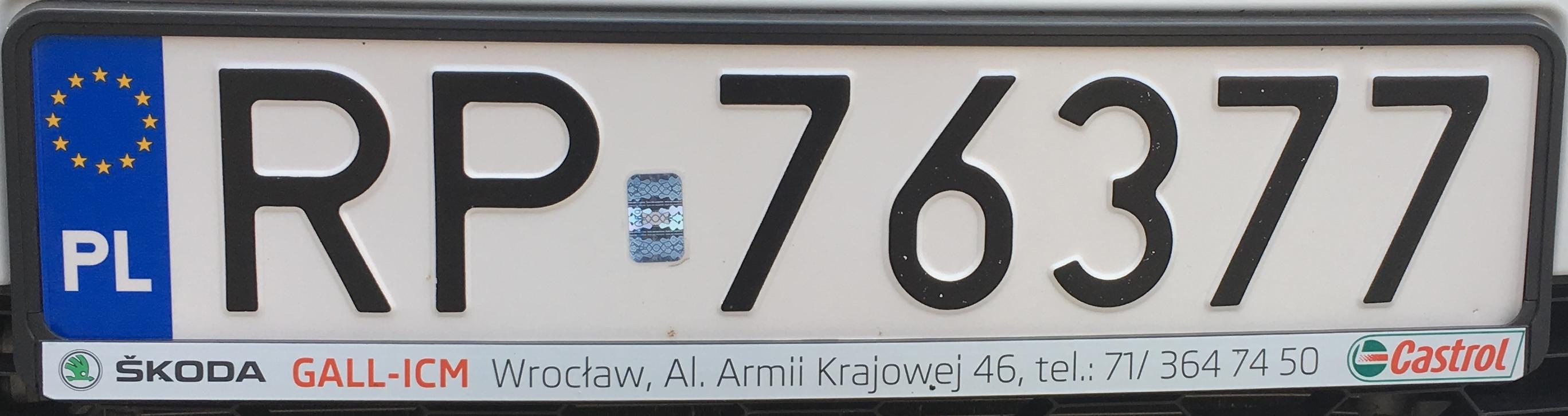 Registrační značka Polsko – RP - Przemyśl, foto: www.podalnici.cz
