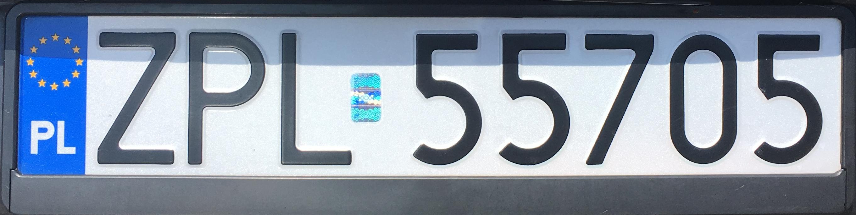 Registrační značka Polsko - ZPL - Police, foto: www.podalnici.cz