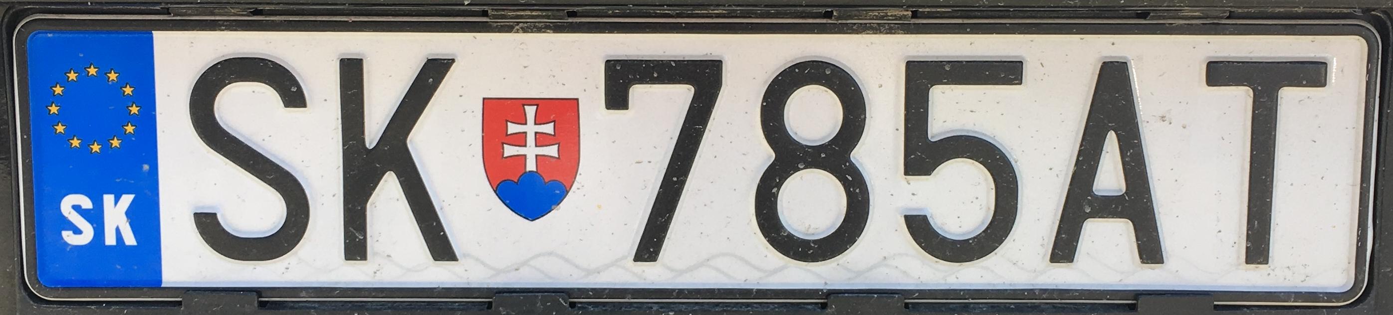 Registrační značka Slovensko - SK - Svidník, foto: www.podalnici.cz