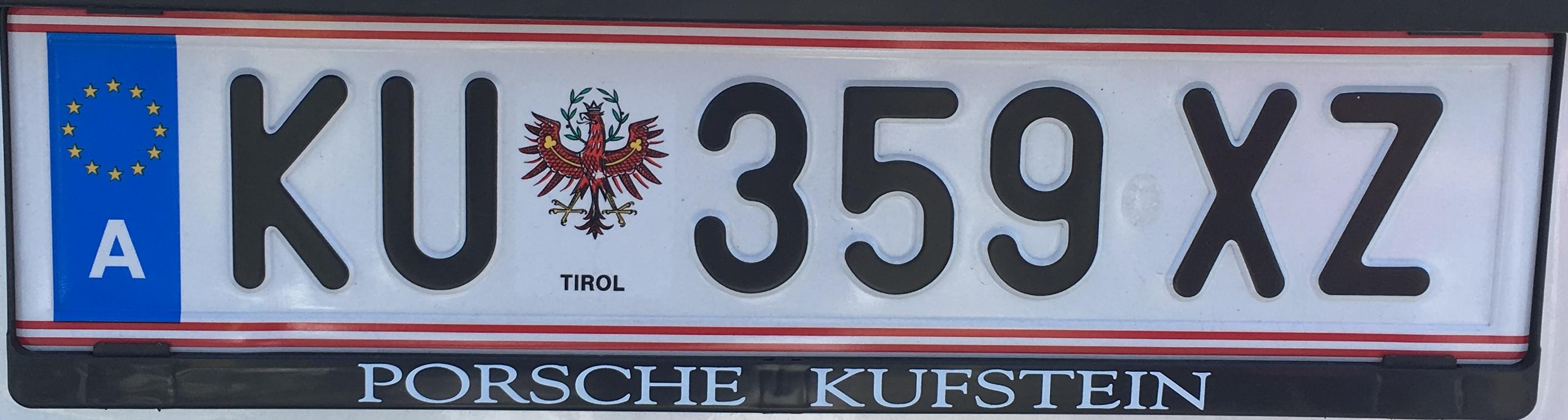 Registrační značka Rakousko - KU - Kufstein, foto: www.podalnici.cz