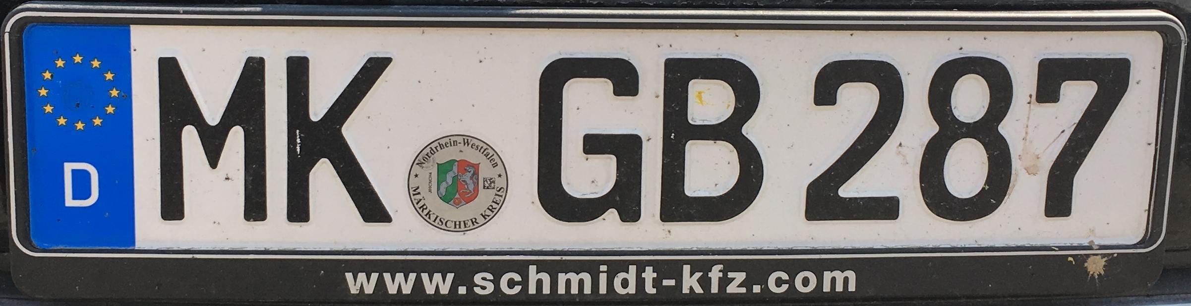 Registrační značka Německo - MK - Märkischer Kreis, foto: www.podalnici.cz
