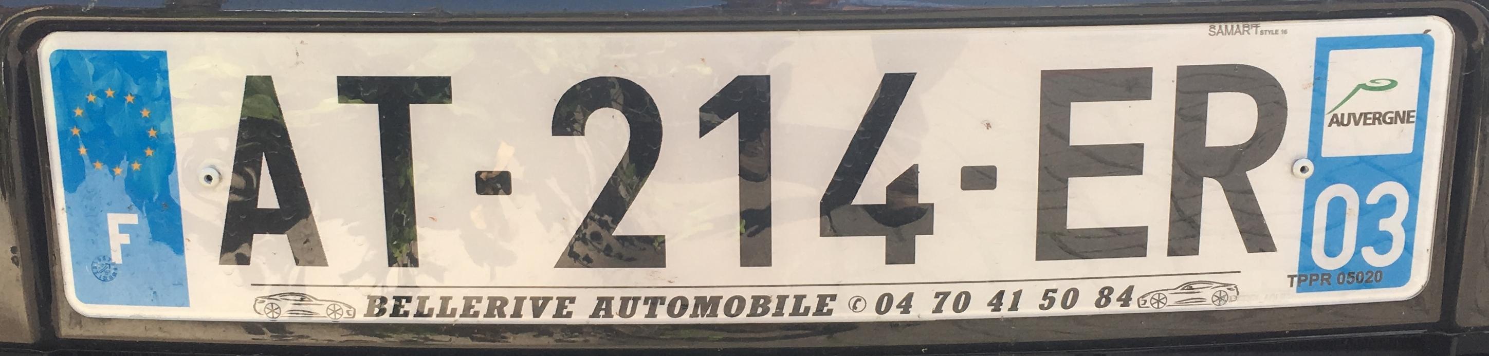 Francouzská registrační značka – 03 - Allier, foto: www.podalnici.cz