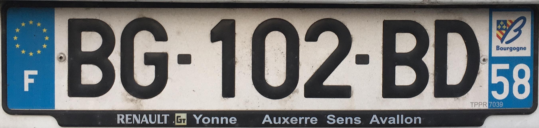 Francouzská registrační značka – 58 - Niévre, foto: www.podalnici.cz