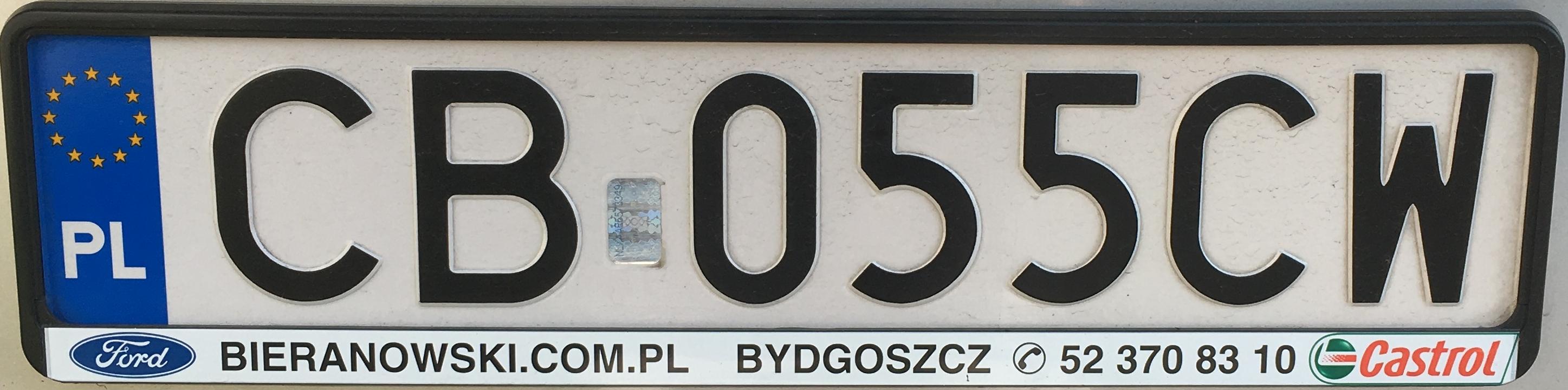 Registrační značka Polsko - CB - Bydgoszcz, foto: www.podalnici.cz