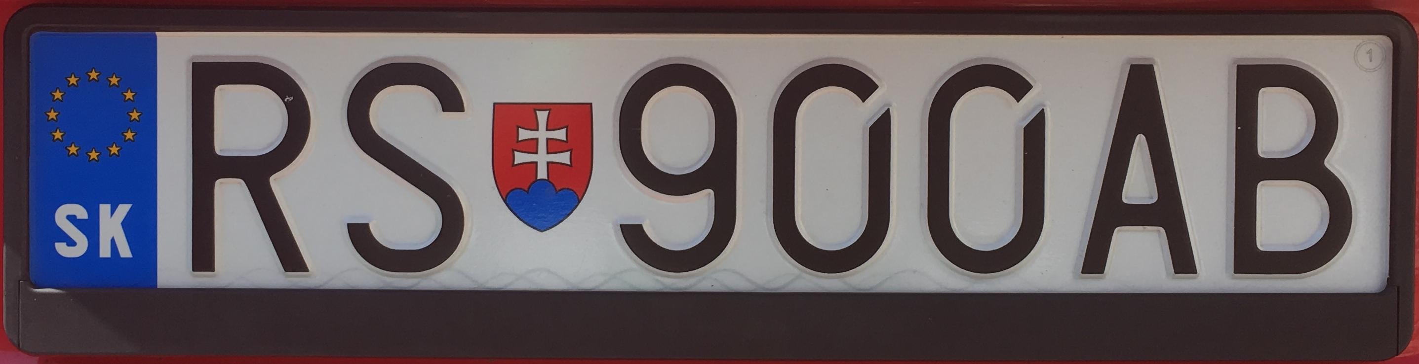 Registrační značka Slovensko - RS - Rimavská Sobota, foto: www.podalnici.cz