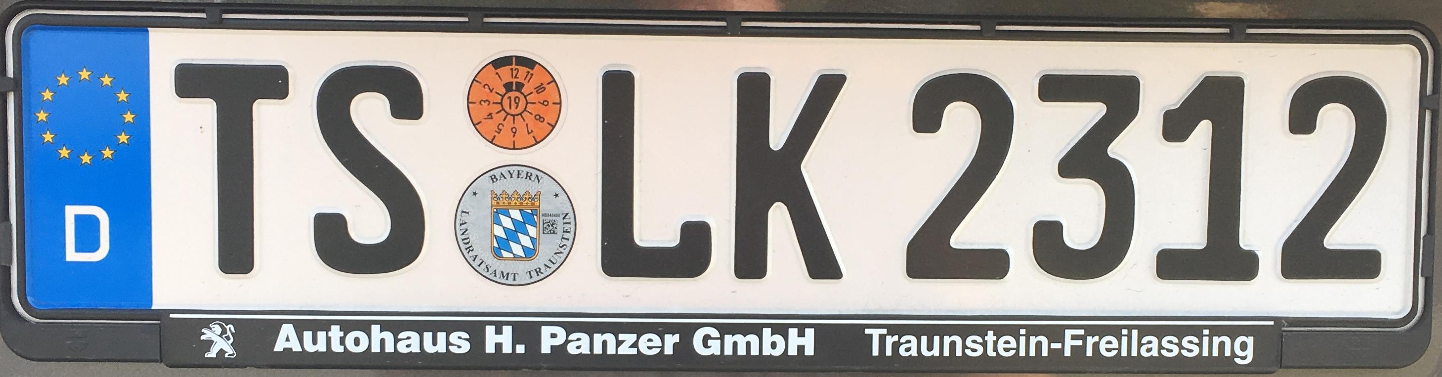 Registrační značka Německo - TS - Traunstein, foto: www.podalnici.cz