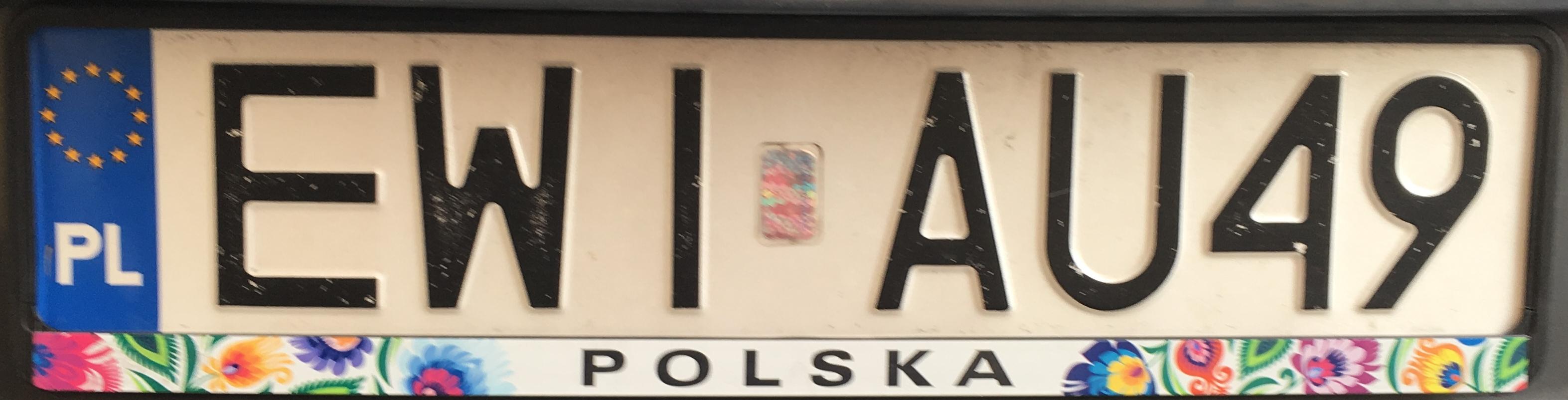Registrační značka Polsko – EWI - Wieluń, foto: www.podalnici.cz