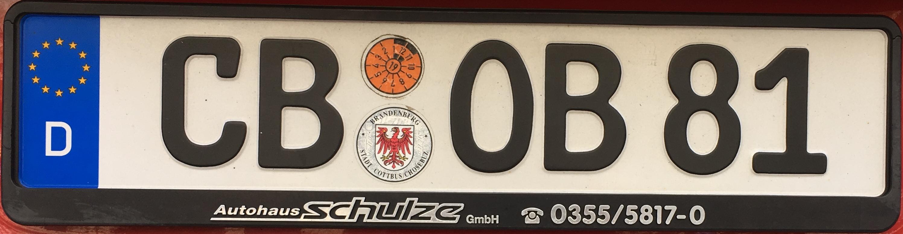 Registrační značka Německo - CB - Cottbus, foto: www.podalnici.cz
