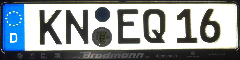 Registrační značka Německo - KN - Konstanz, foto: podalnici.cz
