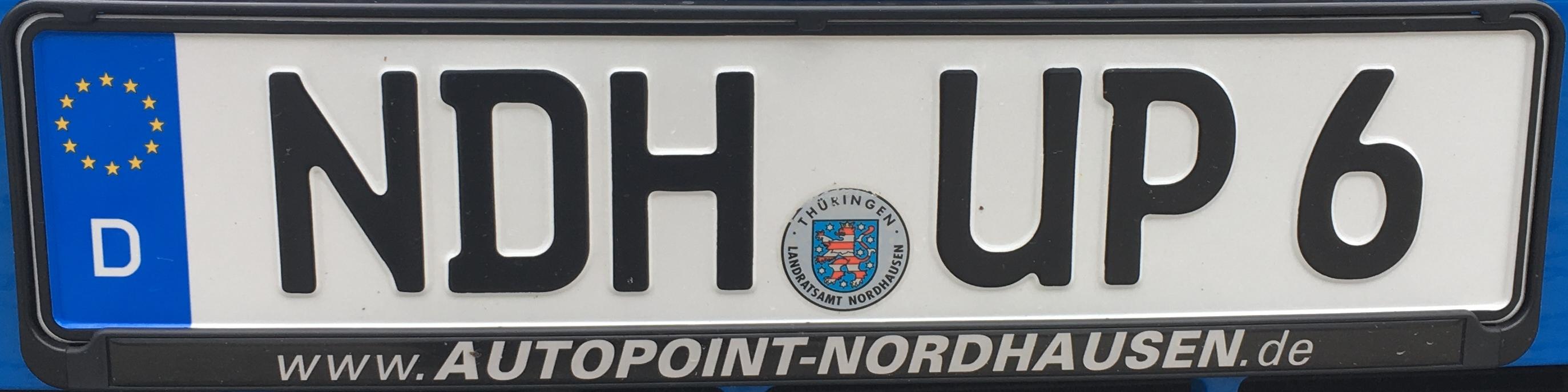 Registrační značka Německo - NDH - Nordhausen, foto: www.podalnici.cz