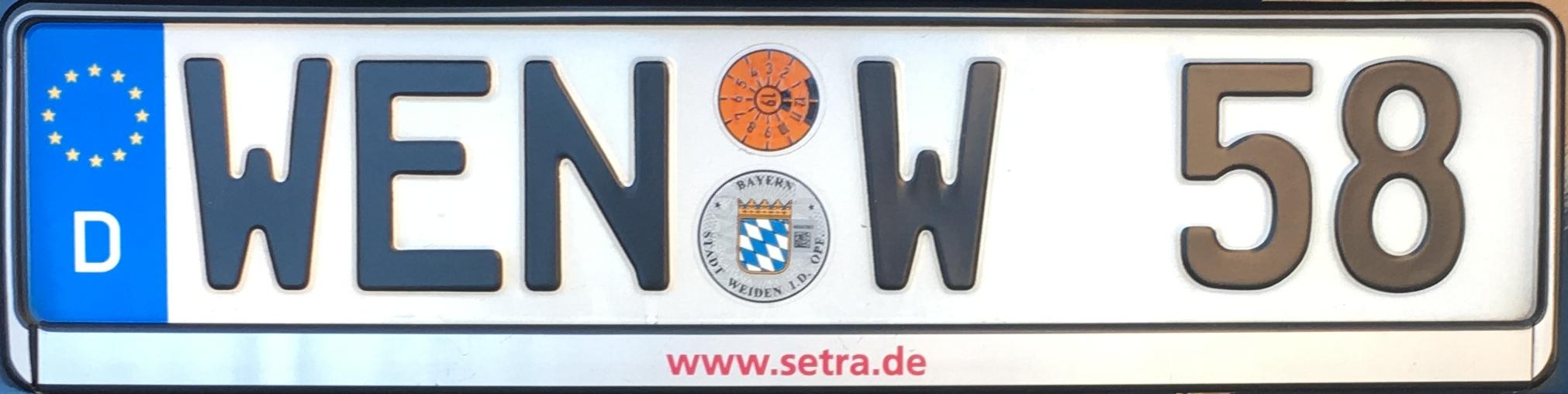 Registrační značka Německo - WEN - Weiden in der Oberpfalz, foto: www.podalnici.cz
