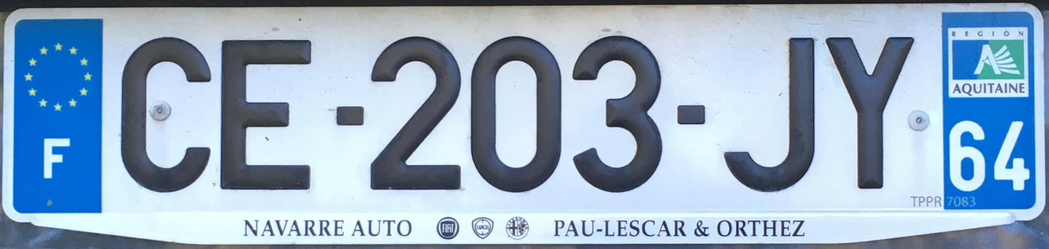 Francouzská registrační značka – 64 - Pyrénées-Atlantiques, foto: www.podalnici.cz