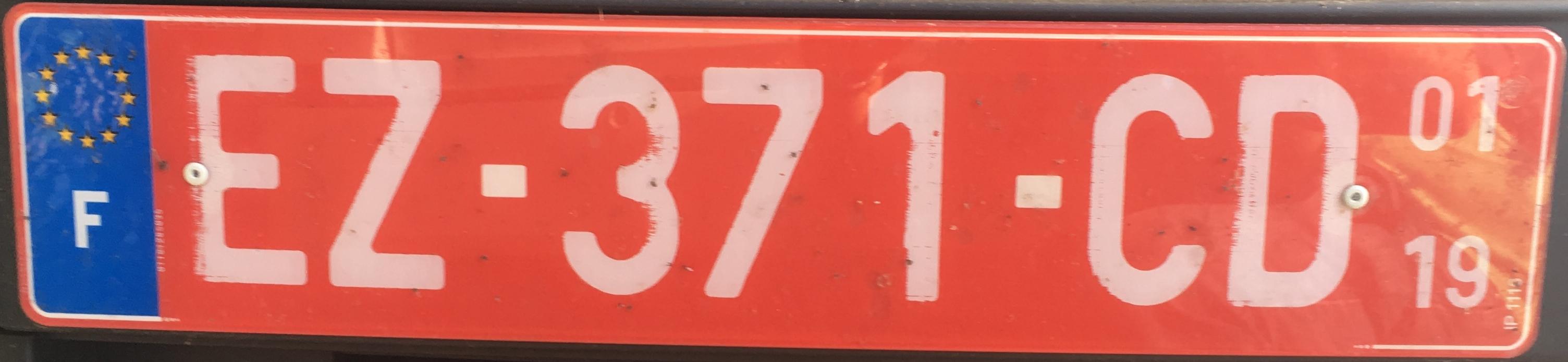 Francouzská registrační značka exportní, foto:www.podalnici.cz