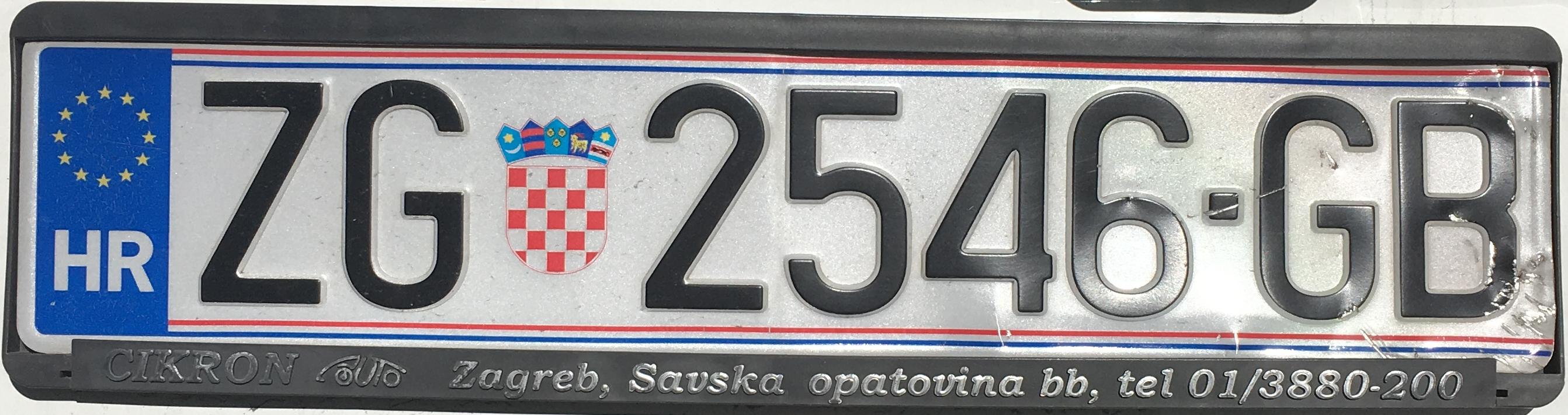 Registrační značka Chorvatsko - ZG - Zagreb, foto: www.podalnici.cz