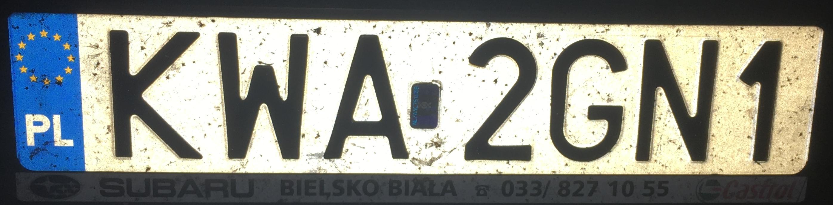 Registrační značka Polsko – KWA - Wadowice, foto: www.podalnici.cz