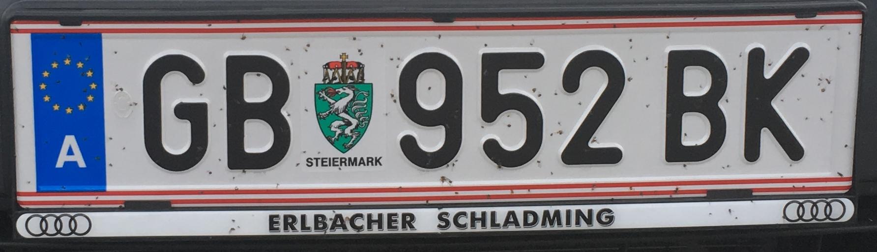 Registrační značka Rakousko - GB - Gröbming, foto: www.podalnici.cz