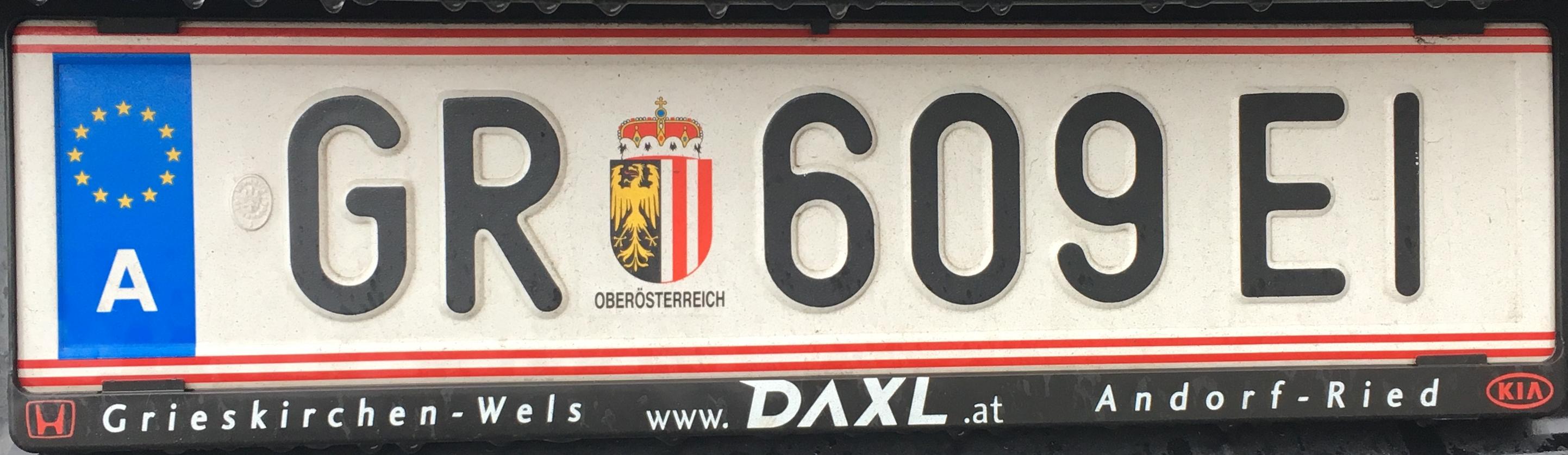 Registrační značka Rakousko - GR - Grieskirchen, foto: www.podalnici.cz