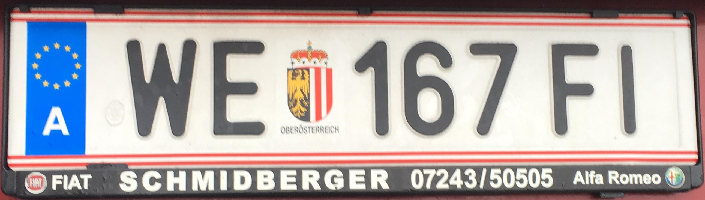 Registrační značka Rakousko - WE - město Wels, foto: www.podalnici.cz