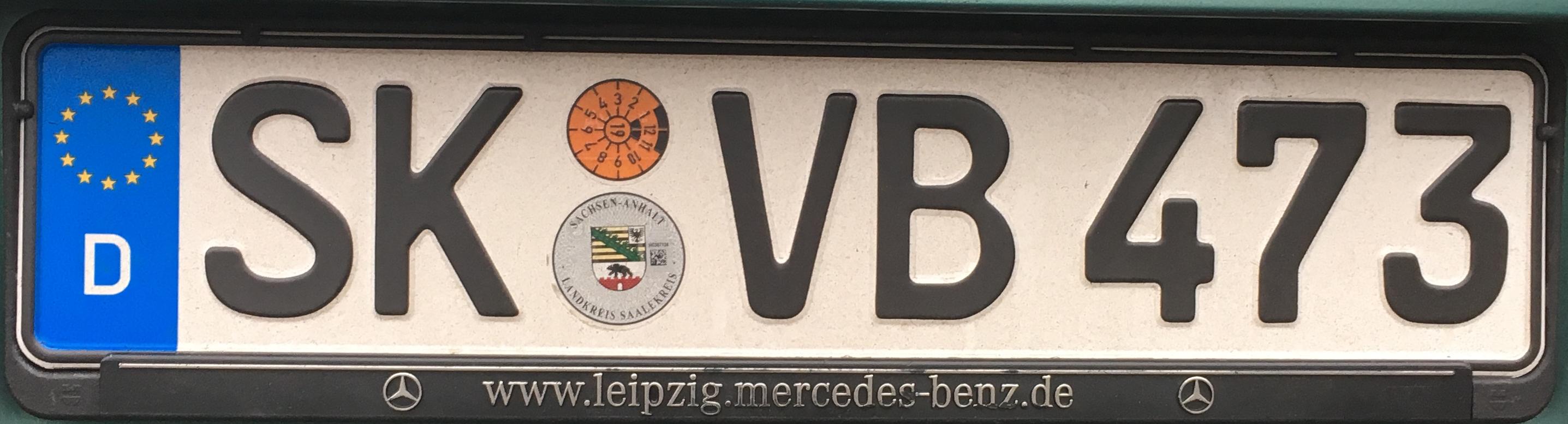Registrační značka Německo - SK - Saalekreis, foto: www.podalnici.cz