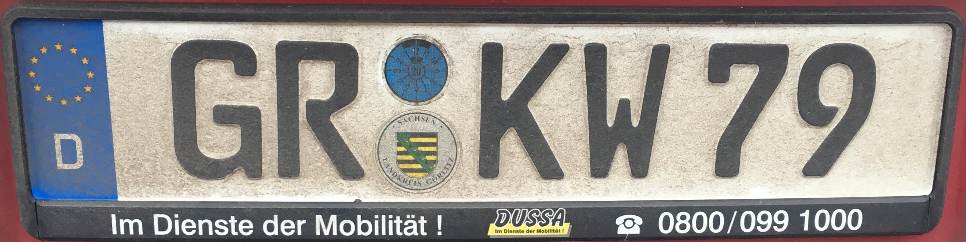 Registrační značky Německo - GR - Görlitz, foto: www.podalnici.cz
