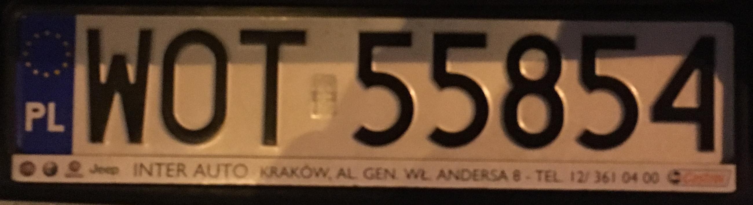 Registrační značka Polsko - WOT - Otwock, foto: www.podalnici.cz