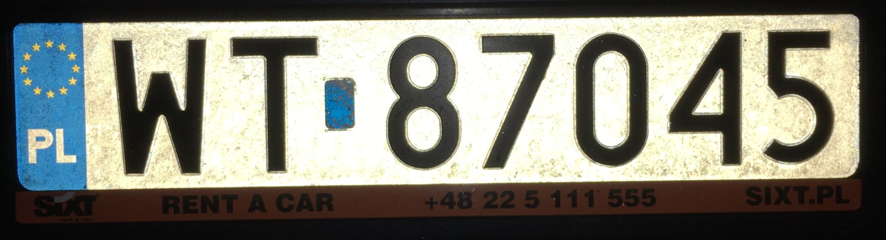 Registrační značka Polsko - WT - Wawer, foto: www.podalnici.cz