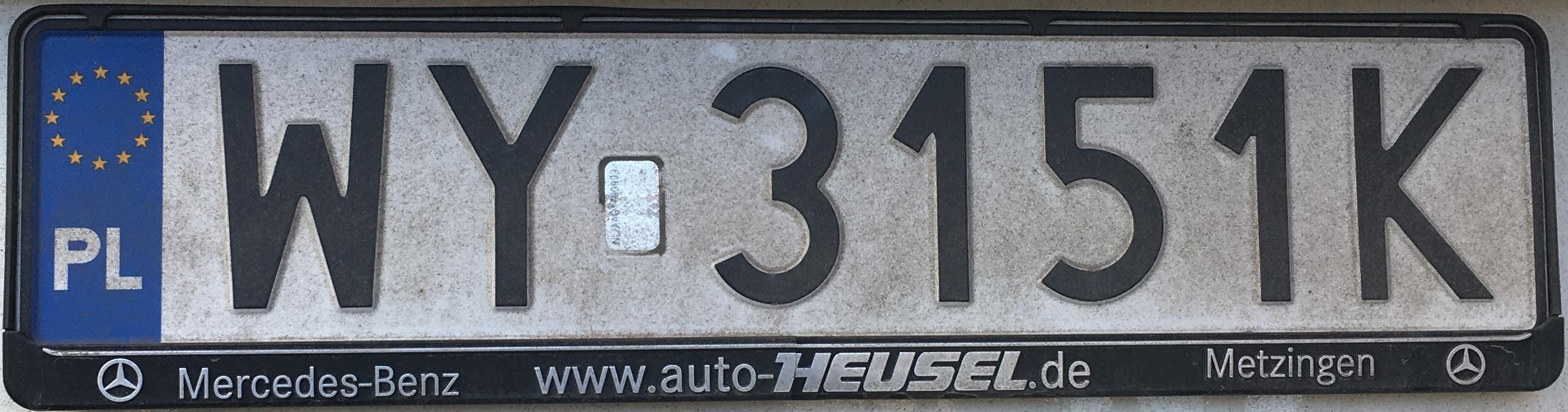 Registrační značka Polsko - WY - Wola, foto: www.podalnici.cz