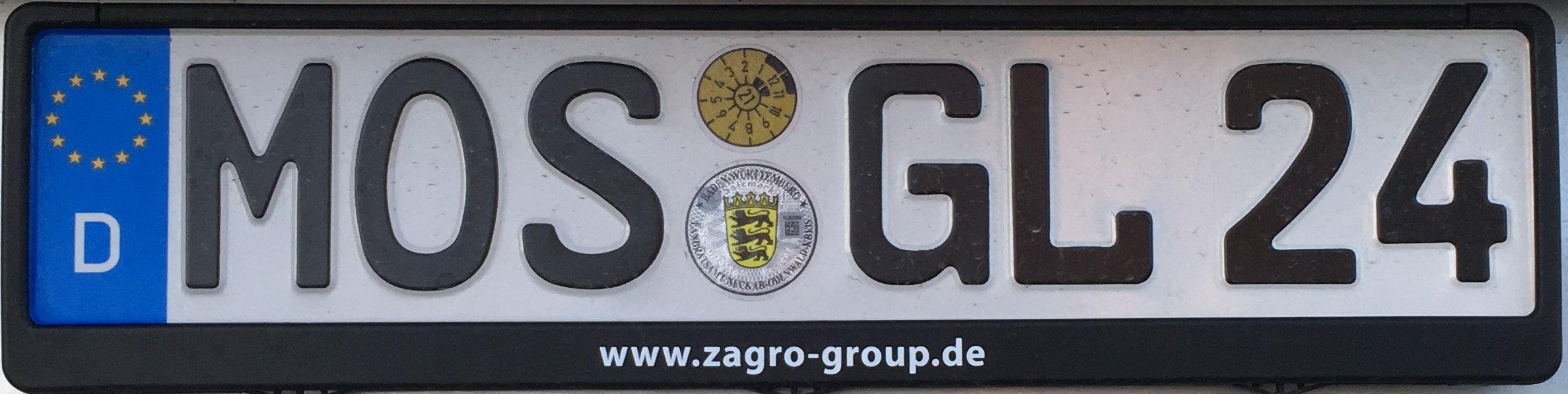 Registrační značky Německo - MOS - Mosbach, foto: podalnici.cz